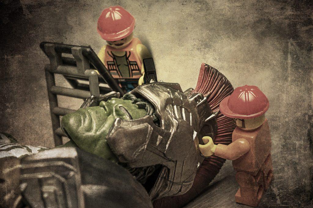 Putting on Hulks helmet