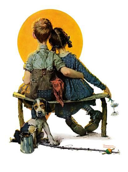 Little Spooners Norman Rockwell painting