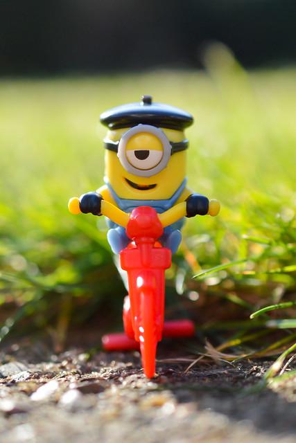 Minion on a bike.