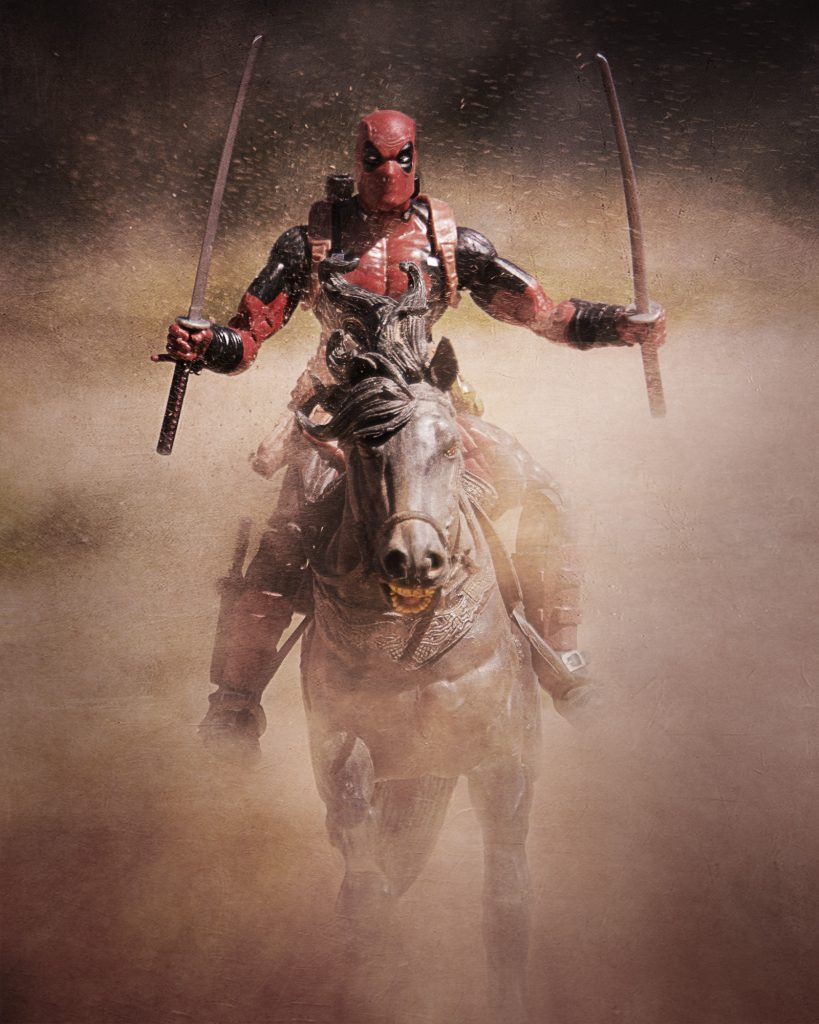 deadpool on a horse
