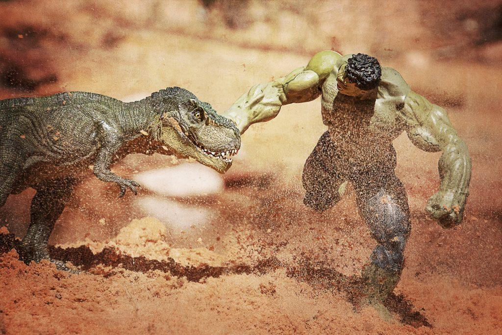 hulk punches trex