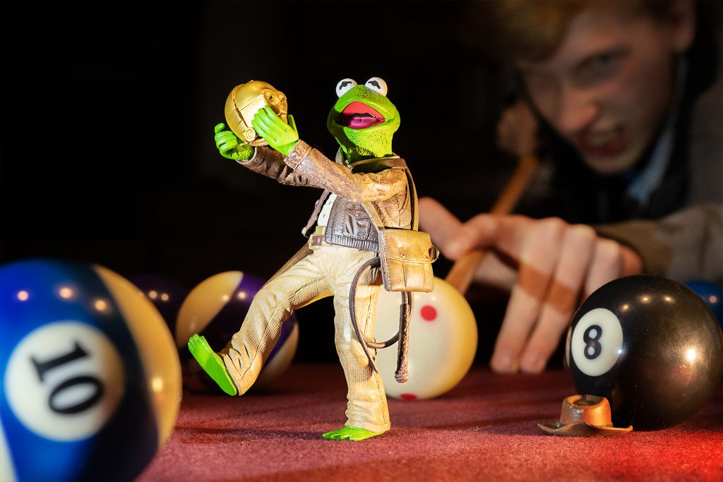 Kermit on the pool table