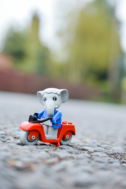 LEGO Fabuland elephant riding a moped