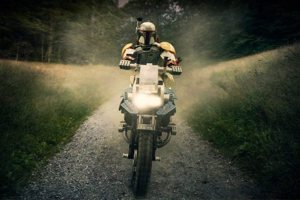 Boba Fett riding the BMW R1200 on an epic road trip.