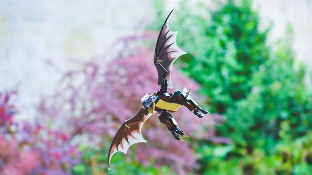 A flying LEGO dragon.