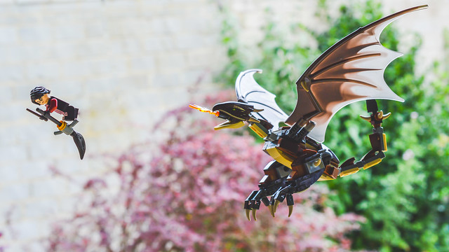 LEGO Harry Potter being chased by a dragon.