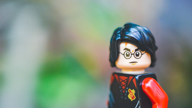 LEGO Harry Potter staring into the camera