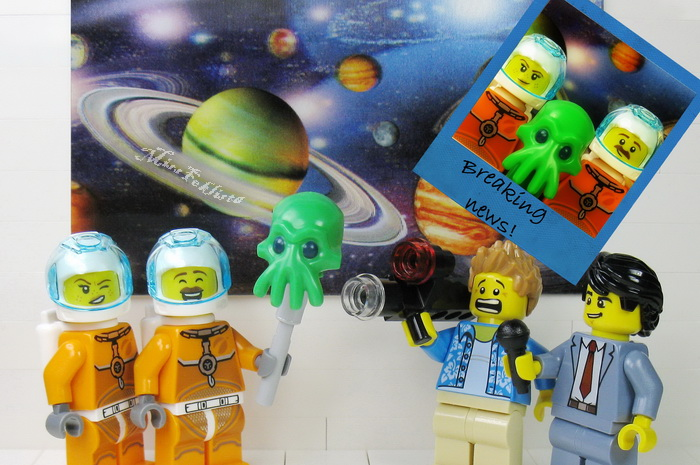The astronauts are frightening the journalist with the alien's head
