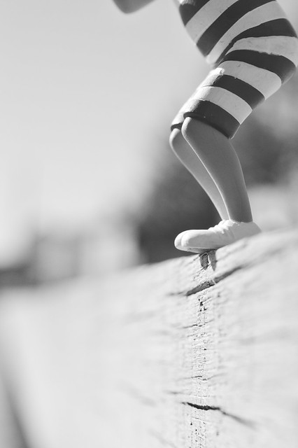 Stripes on a swimsuit, in black and white