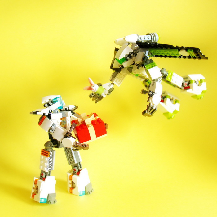 Two robots are exchanging the gifts
