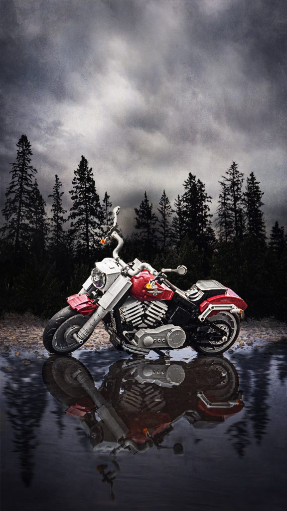 Creating a reality: Harley Davidson By A Lake.