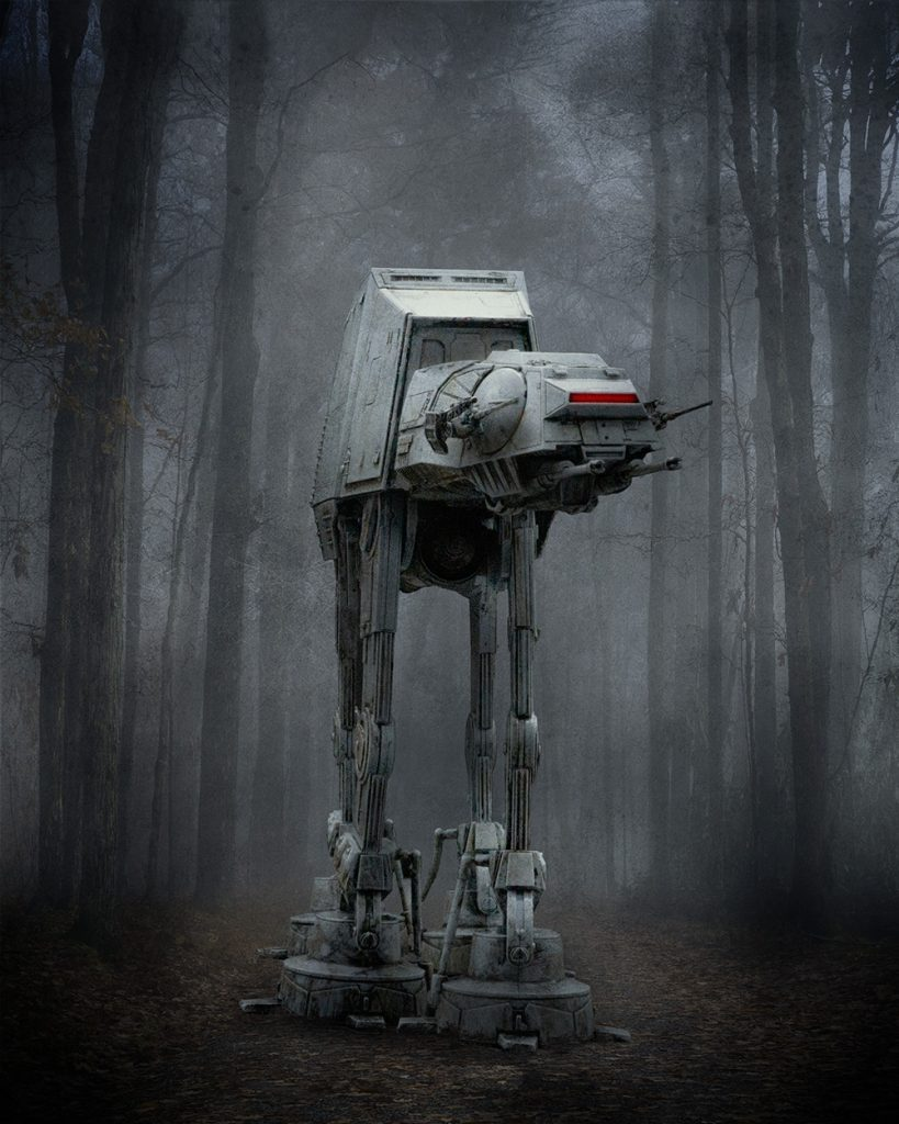 model AT-AT in the woods
