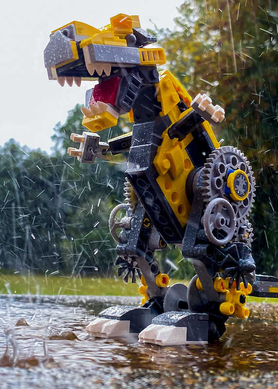 LEGO dinosaur in the rain