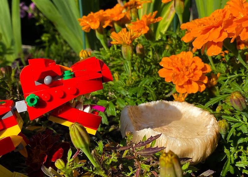 LEGO dinosaur with a mushroom
