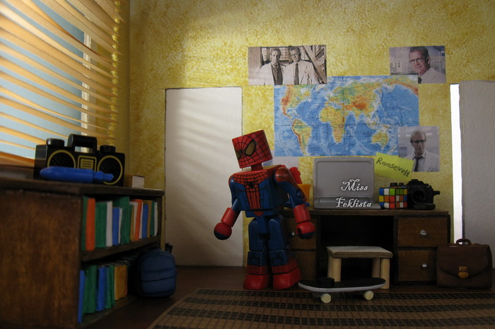 Spider Man in his room