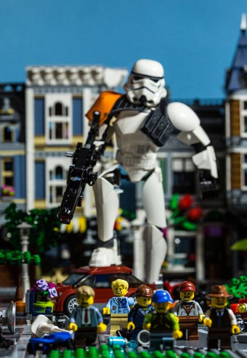 Giant Stormtrooper running amuck in Fredbricksburg, a LEGO Creator City.