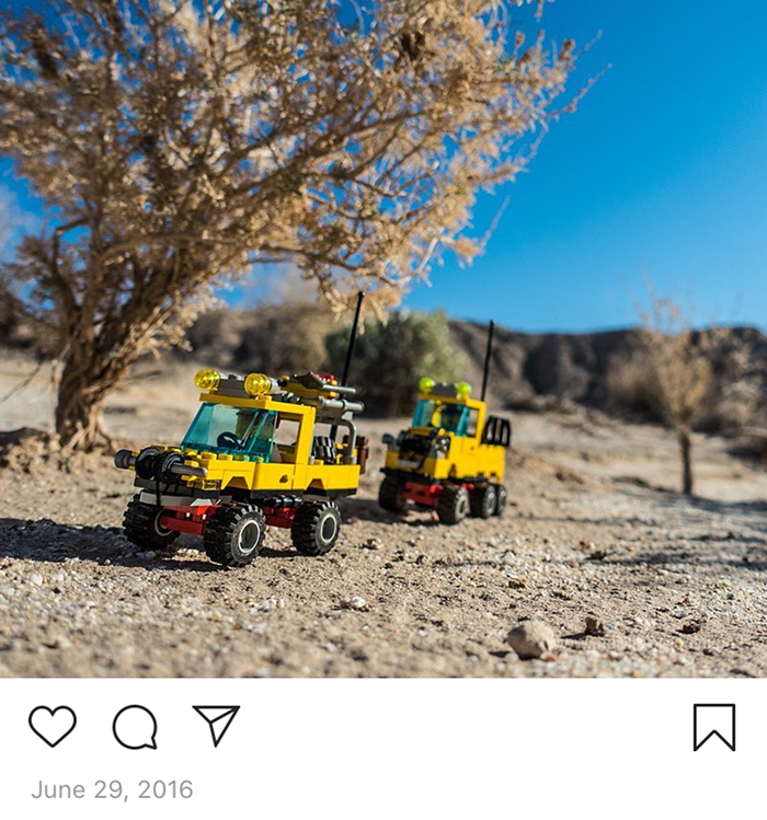 Vintage LEGO explorer trucks out in the California Desert.