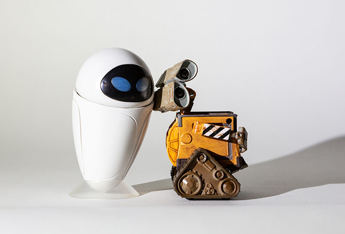 Wall-E and Eve lit with a single Lume Cube.