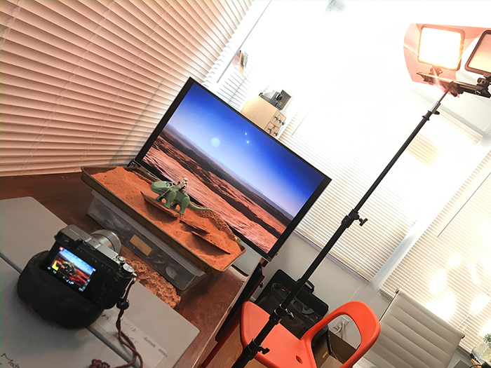 Behind the scenes photo of Stormtrooper on dewback