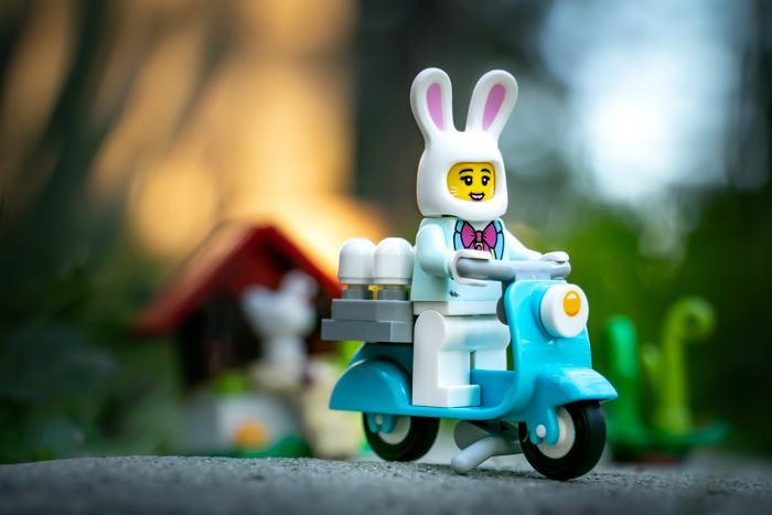 Easter Bunny LEGO set - driving her delivery bike by Teddi Deppner