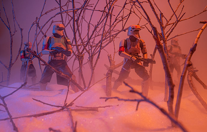 Scarif trooper action figures on patrol through the misty woods.