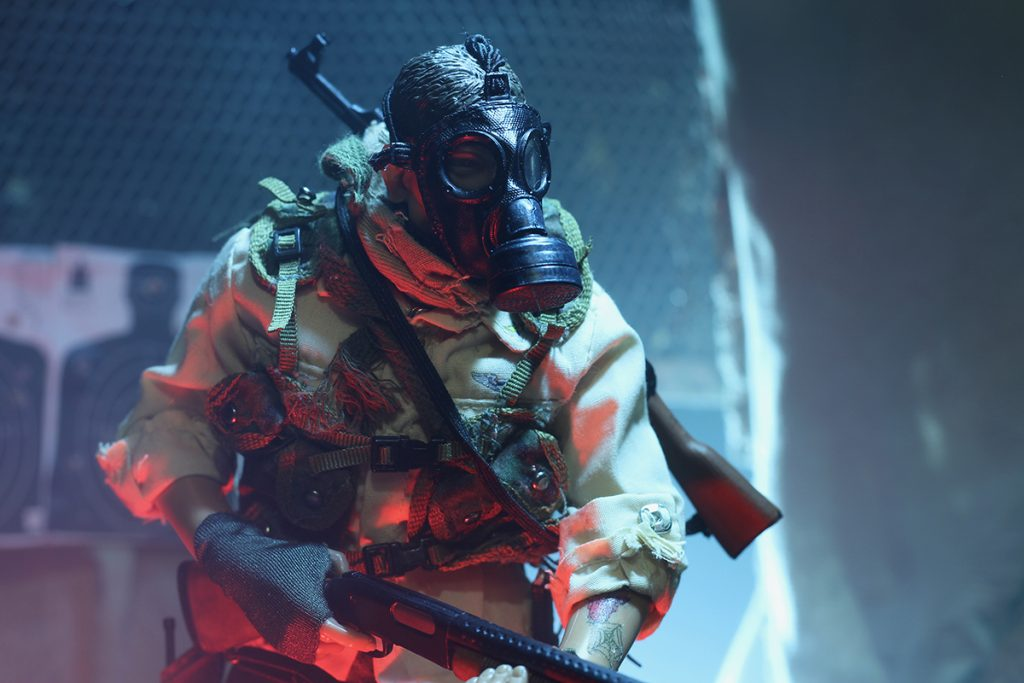 One sixth scale post-apocalyptic pandemic wanderer action figure in gas mask