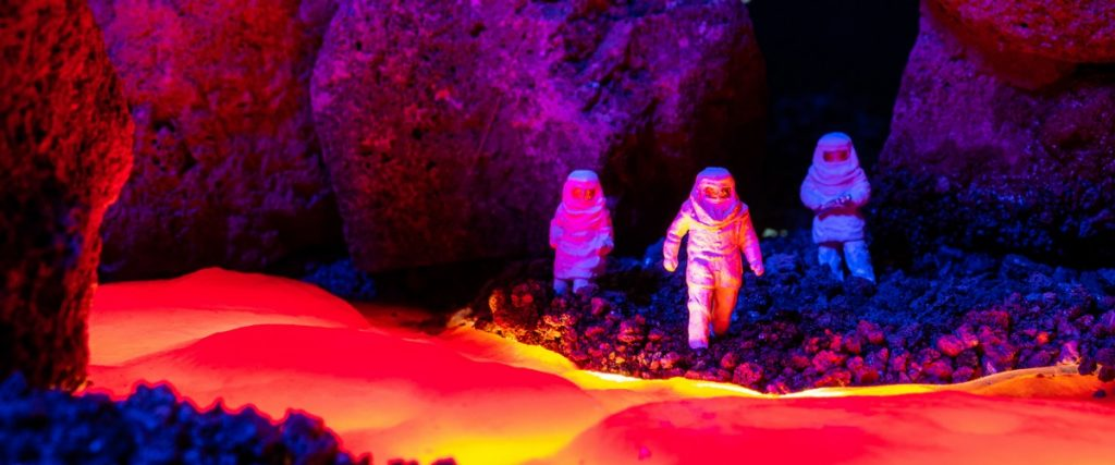 Exploration team ventures close to the lava.