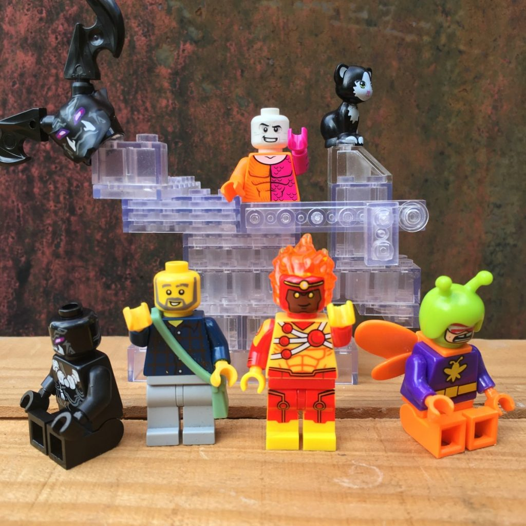 Photo by Adam Ford: LEGO DC superheroes Metamorpho and Firestorm celebrate a job well done
