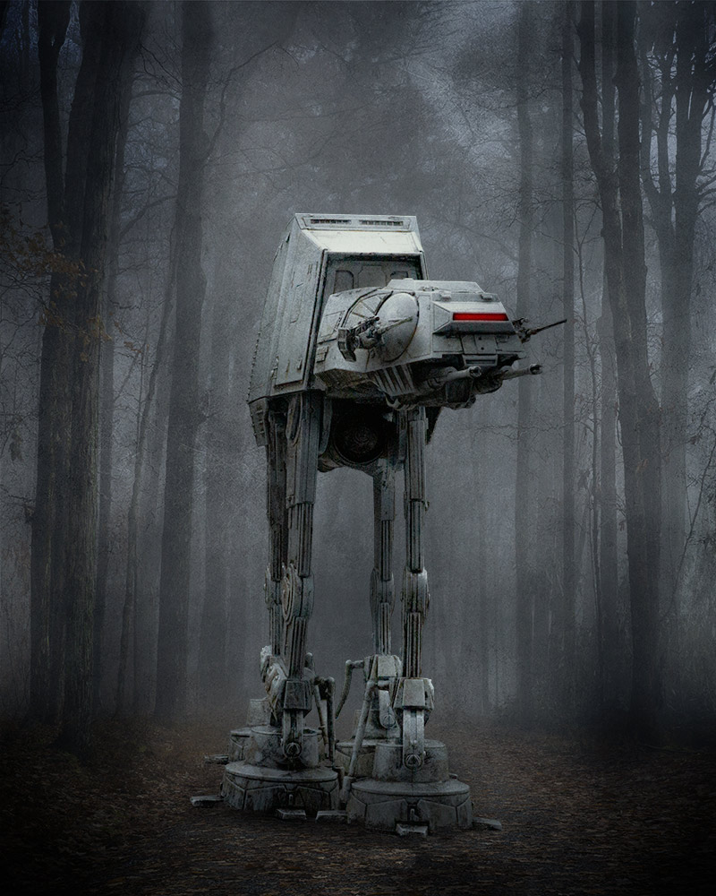 AT-AT in the woods with Photoshop Adjustment Layers
