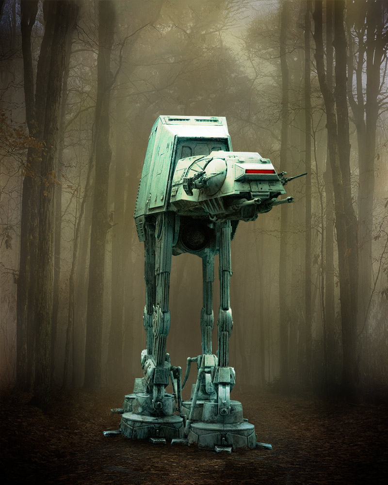 AT-AT in the woods without Photoshop Adjustment Layers.