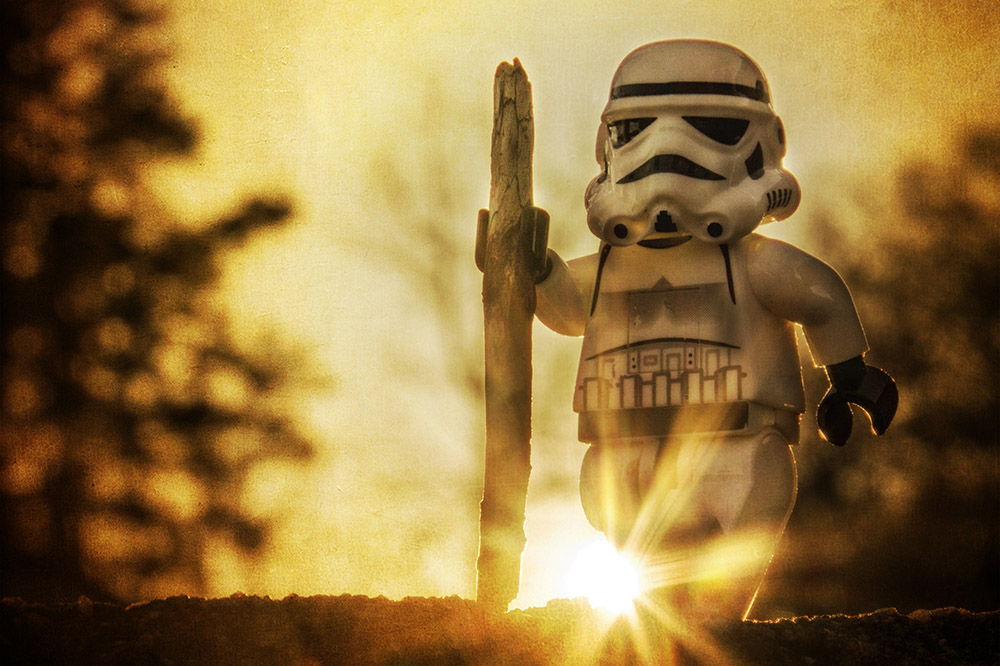 LEGO stormstrooper at sunset