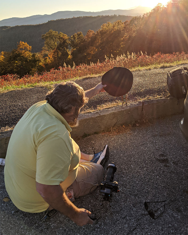 The setup for shooting the Samurai with the sun in the background.