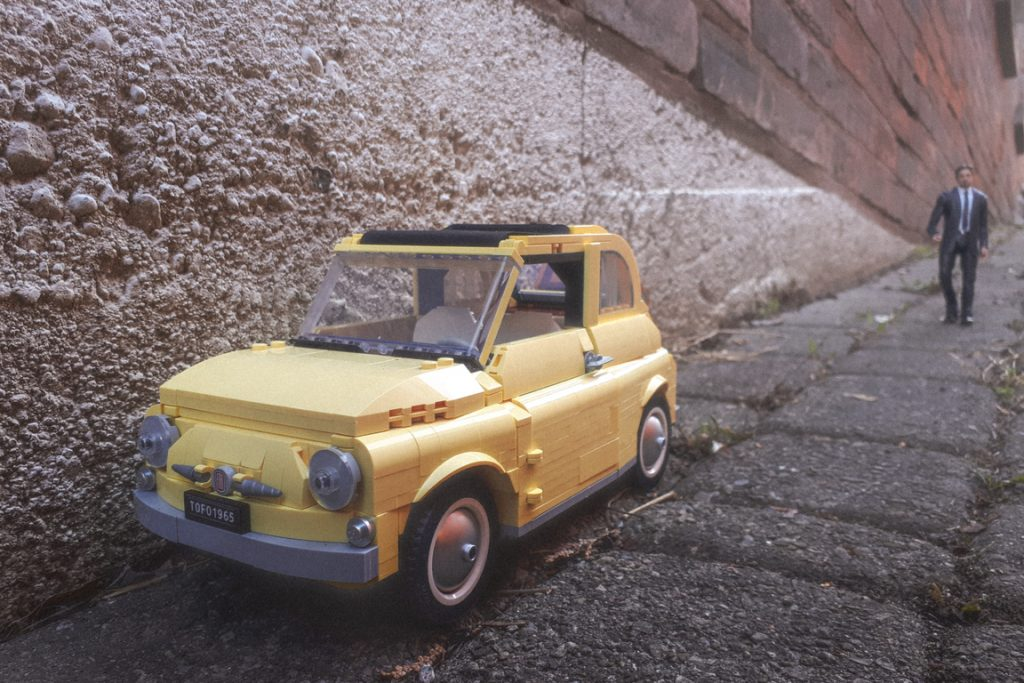 LEGO Fiat 500 parked