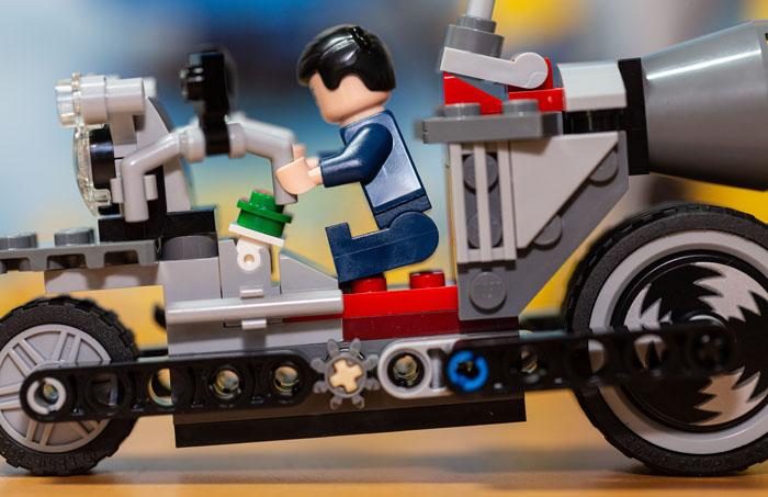 Lego Gru Minifigure on Unstoppable Bike
