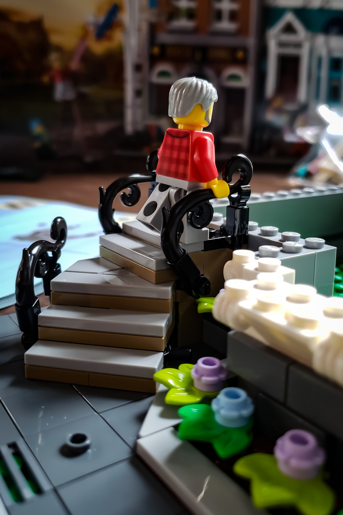 LEGO Creator Bookshop stairs in progress by Teddi Deppner @mightysmallstories