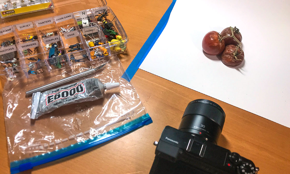 Behind the scenes with rotten tomatoes, HO scale figures and Panasonic M4:3 camera.