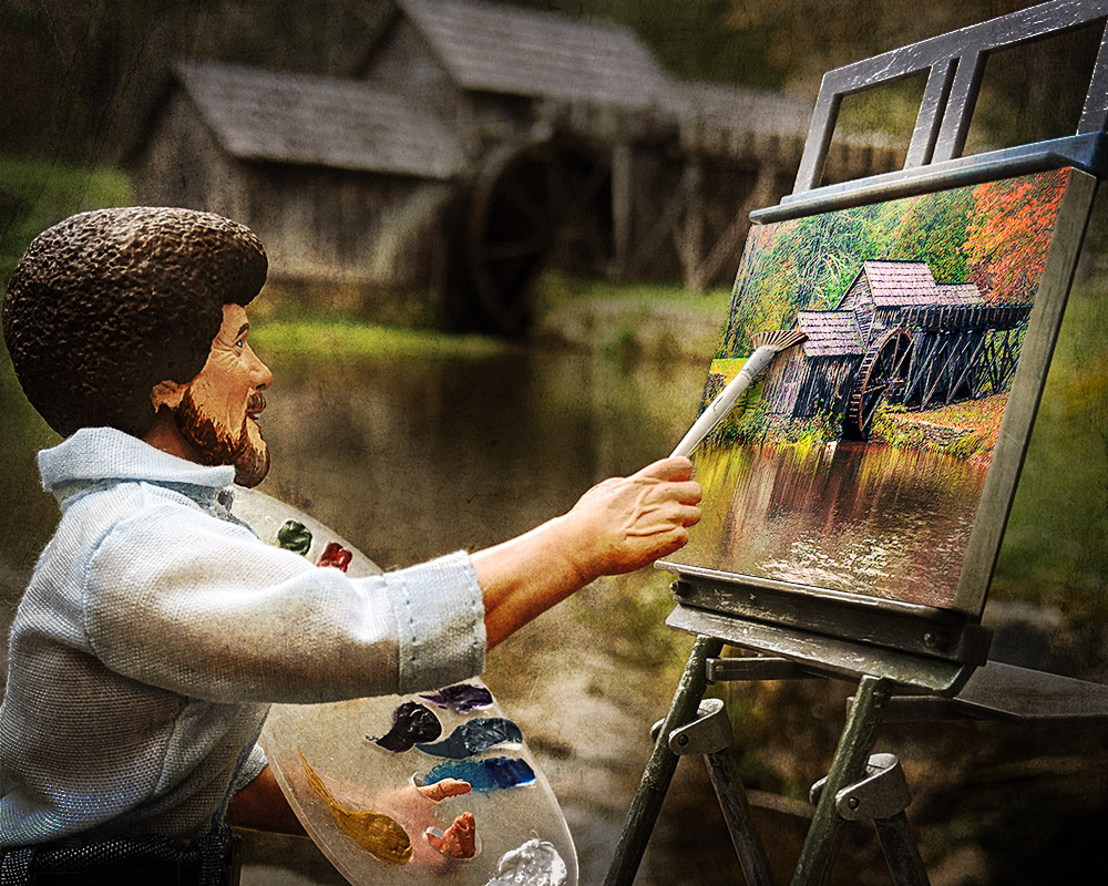 Bob Ross painting in front of Mabry Mill, taking the worries of quarantine away.