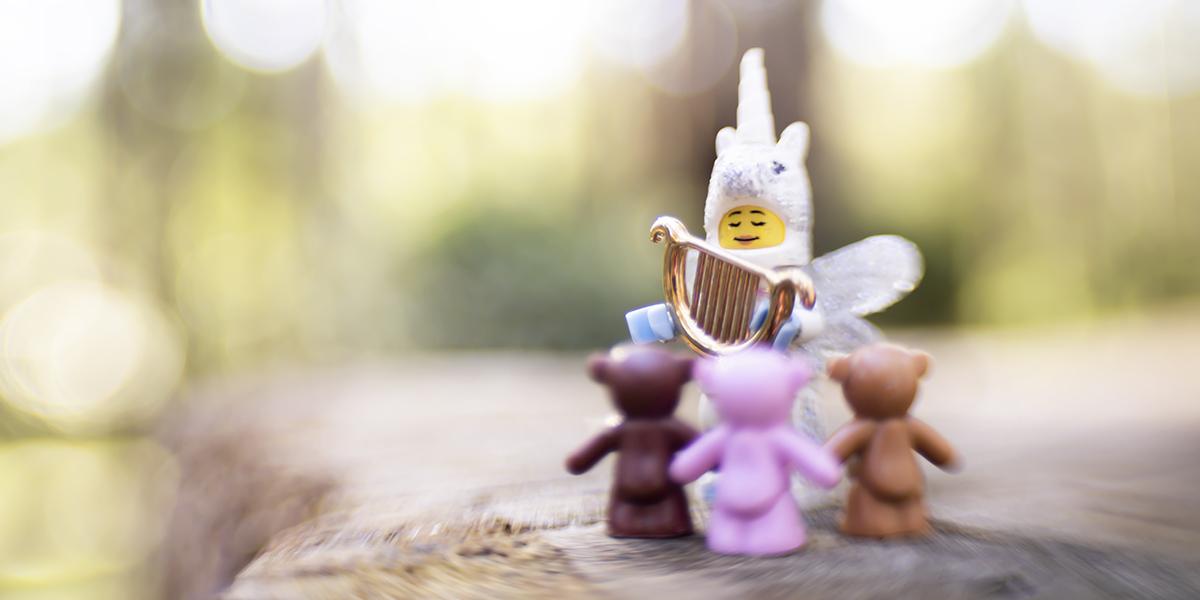 lego unicorn plays harp for three bears by shelly corbett