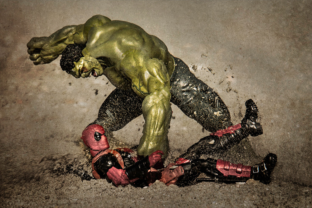 Hulk smashes Deadpool, no joints