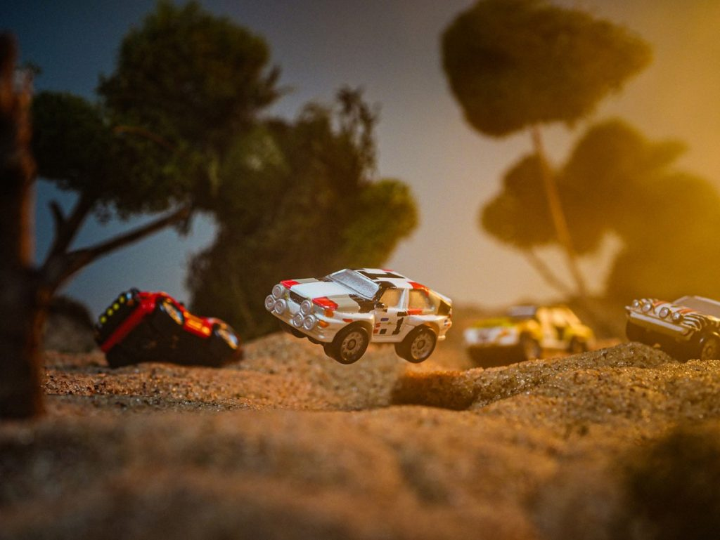 Micro Machine toy car rally race.