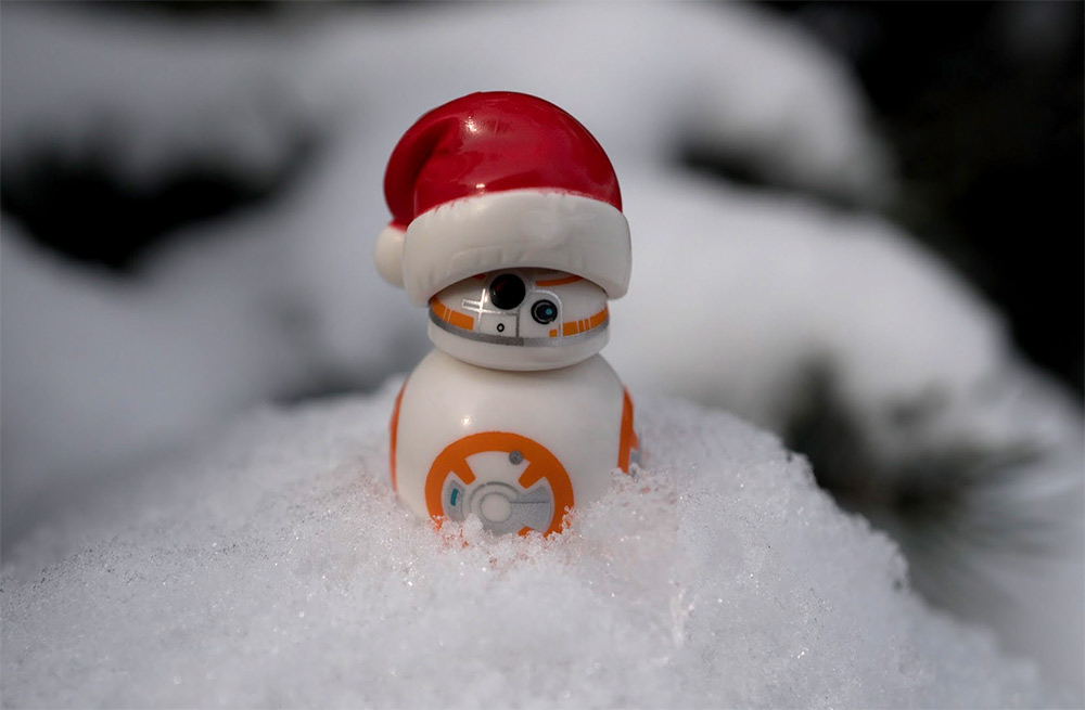 A wam BB-8 melts snow