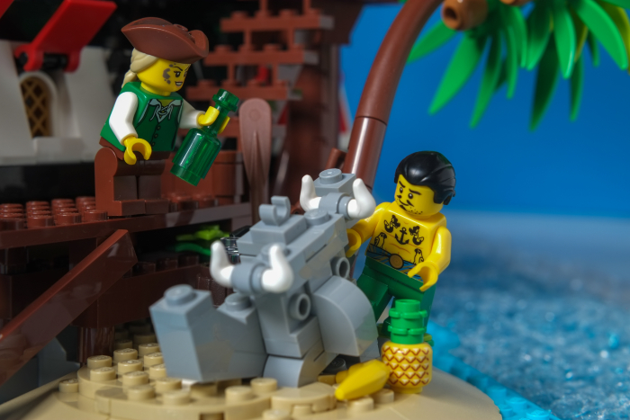 LEGO pirates with statue of tiki golem
