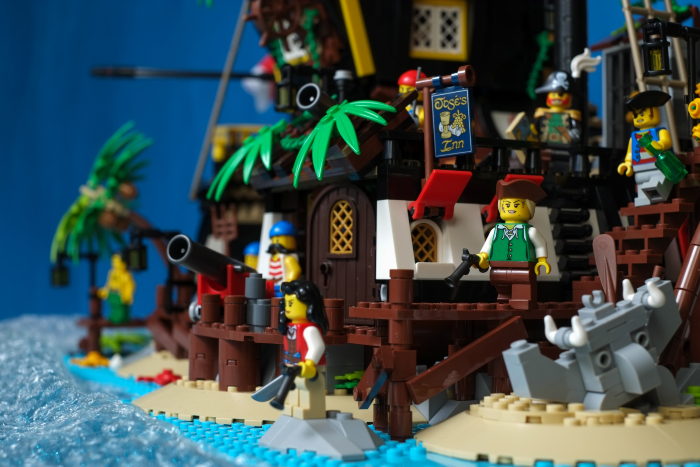 LEGO pirates minifigures on the hideout island