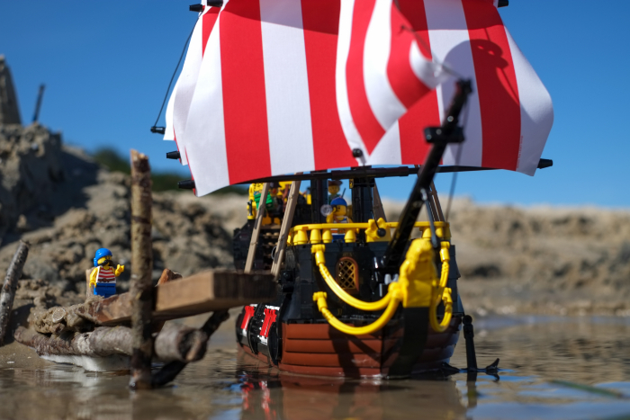 LEGO pirate ship mooring by the pier