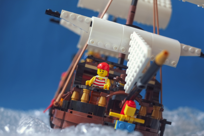 LEGO pirate ship under full sails
