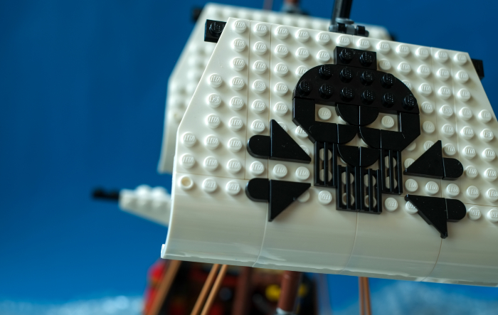 LEGO Jolly Roger on brick built sails