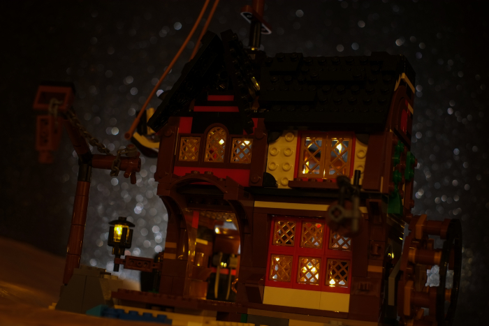 LEGO pirate inn in the night