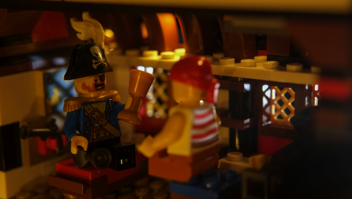 LEGO pirates minfigures telling tales inside the inn