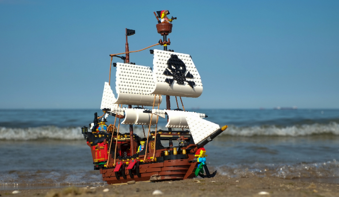 LEGO pirate ship on the beach