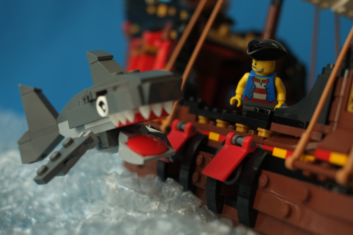 LEGO shark jumping along the pirate ship